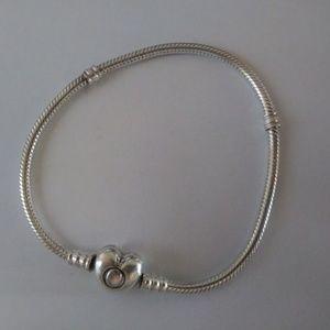 "Pandora Moment Heart Clasp Snake Chain 8"" Bracelet"